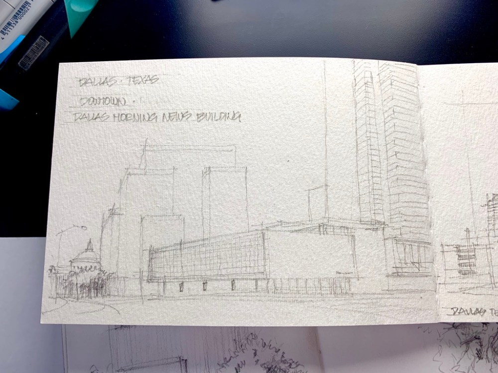 UrbanSketcher at Dallas Downtown Morning news