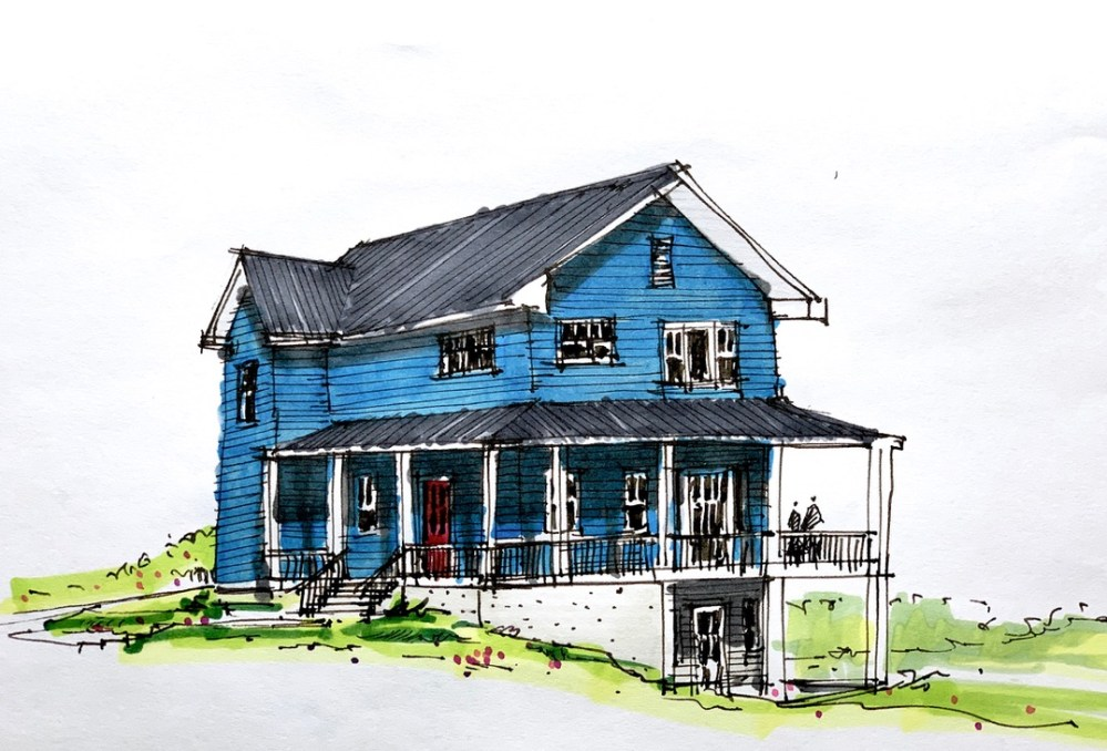 Golf Club House - Sketches - 2 Floor and Walk-Out Basement Farmhouse Sketch