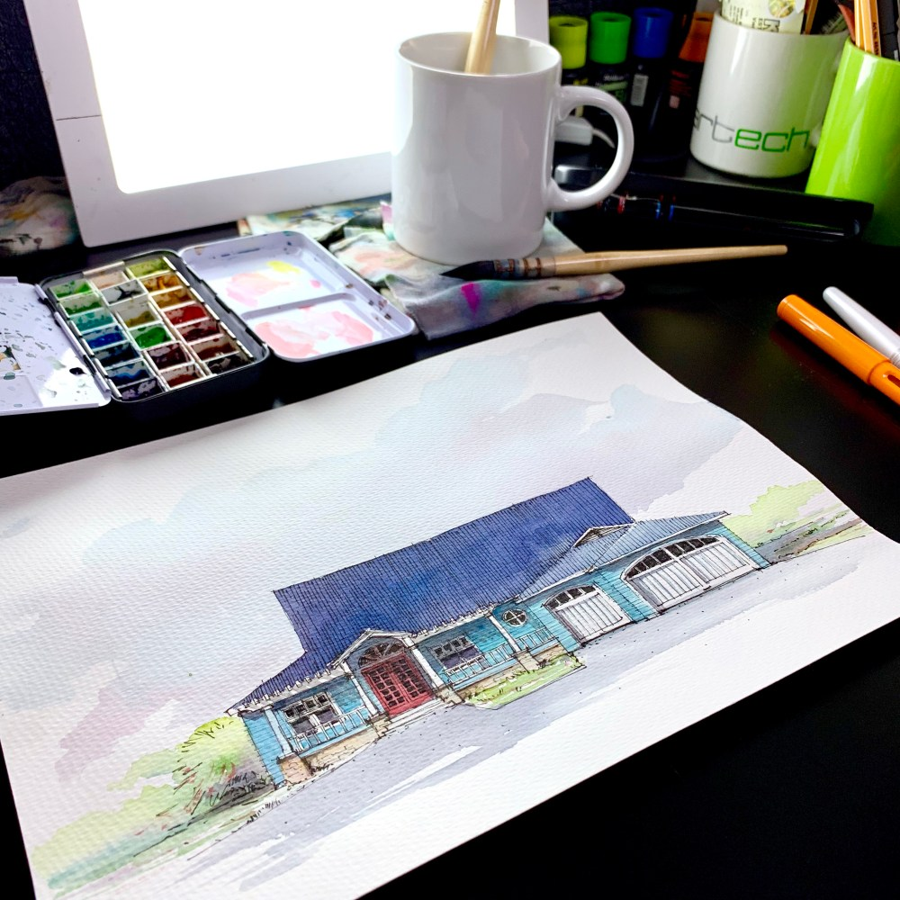 Watercolor sketch of a blue house