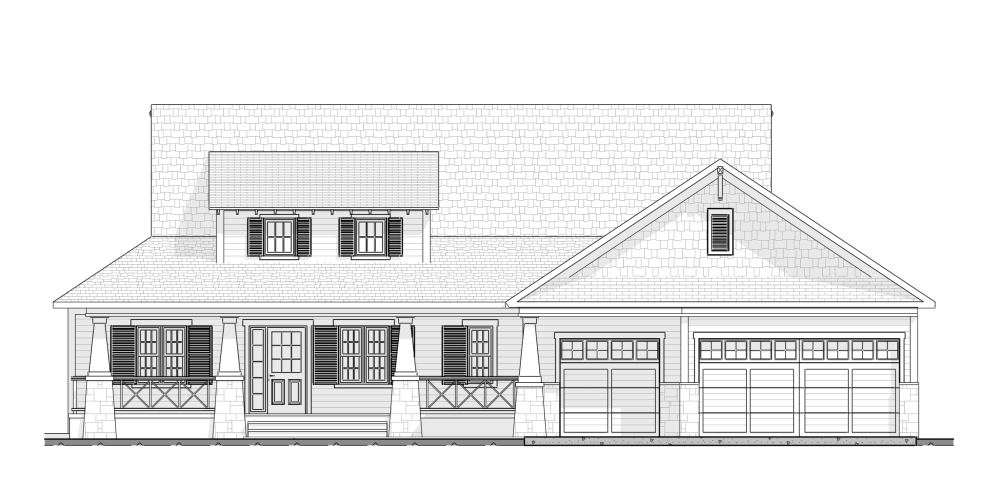 Craftsman Style - House Plan Front Elevation Plan