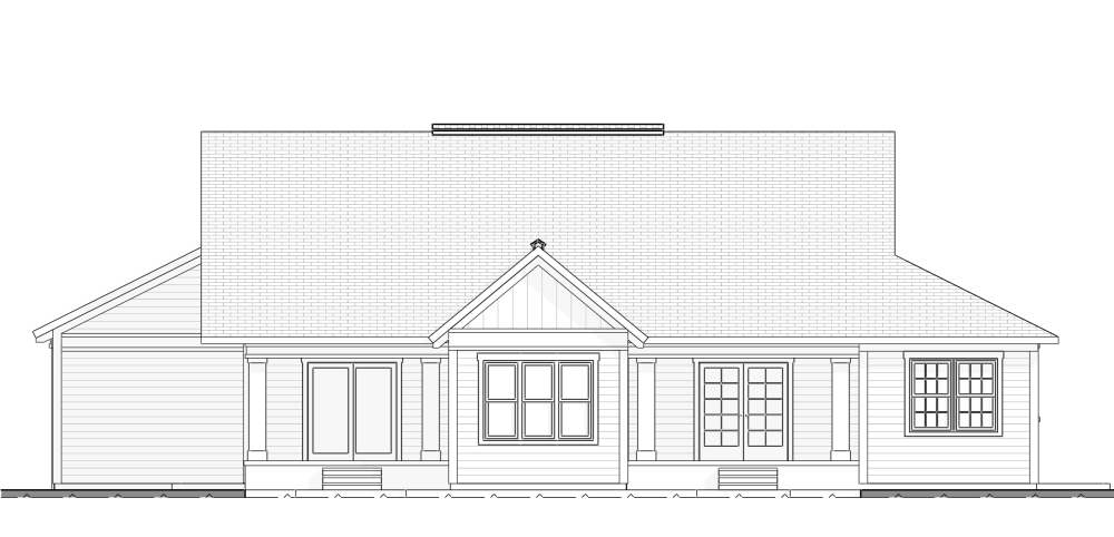 Home Design Farmhouse​ Style Rear Elevation plan