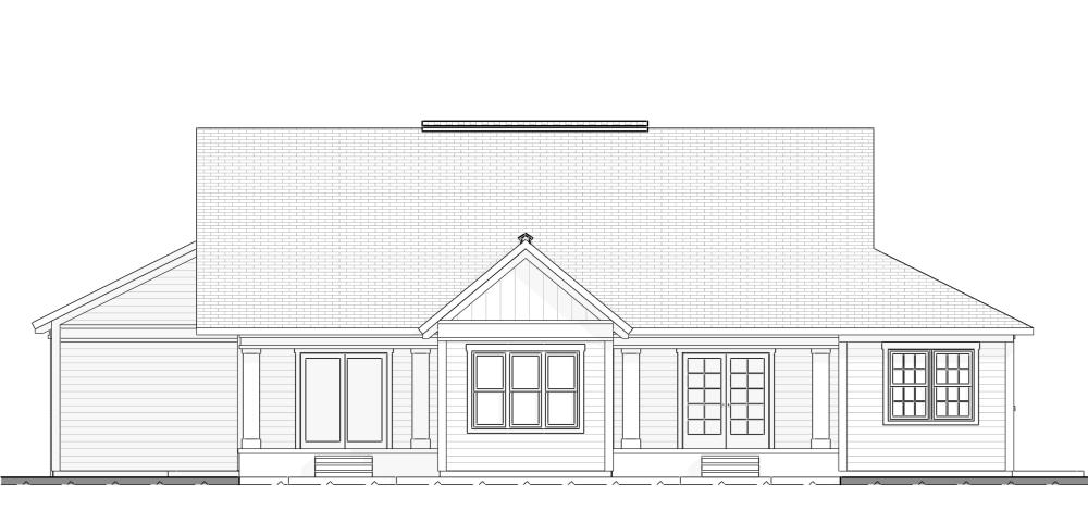 Home Design Farmhouse Style Rear Elevation plan