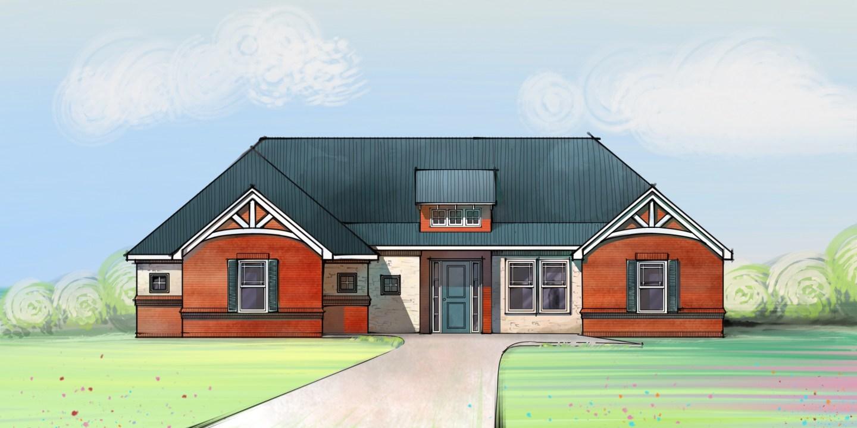 Brick Farmhouse digital sketch - Trying Digital Sketch