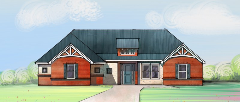 Brick Farmhouse digital sketch - Trying Digital Sketch
