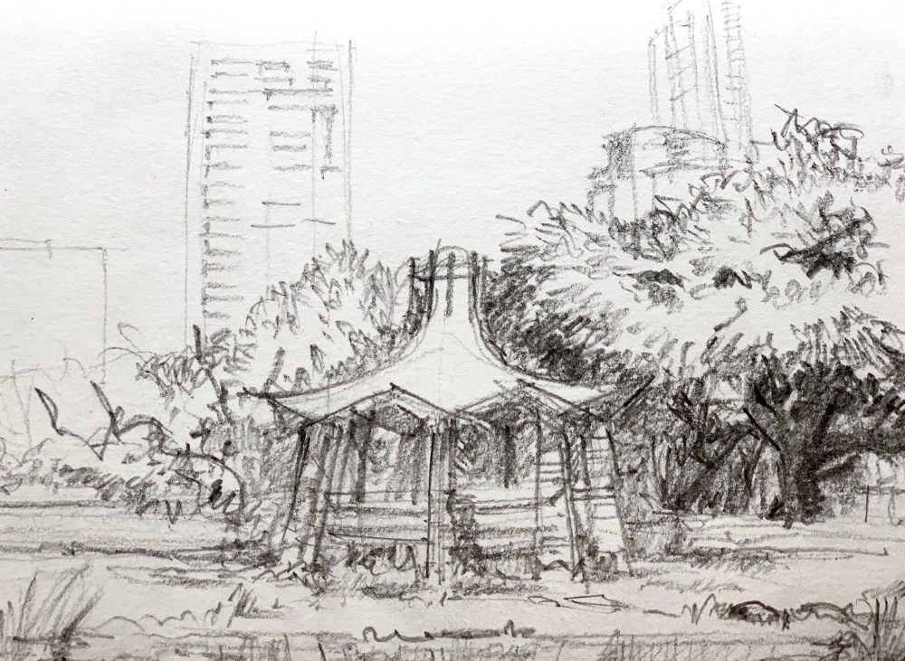 Sketchbook showing a Colorado River Park pencil Urbansketch