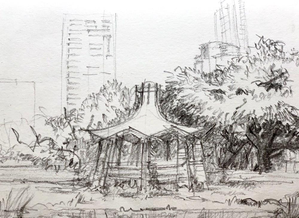 Sketchbook showing a Colorado River Park pencil Urbansketch