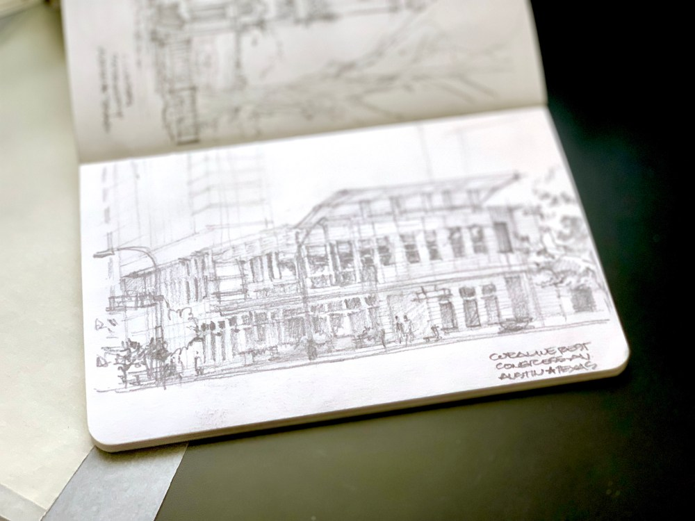 Sketching an Austin Downtown Restaurant Sketchbook pencil sketch building