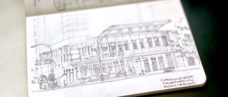 Sketching an Austin Downtown Restaurant Sketchbook pencil sketch building