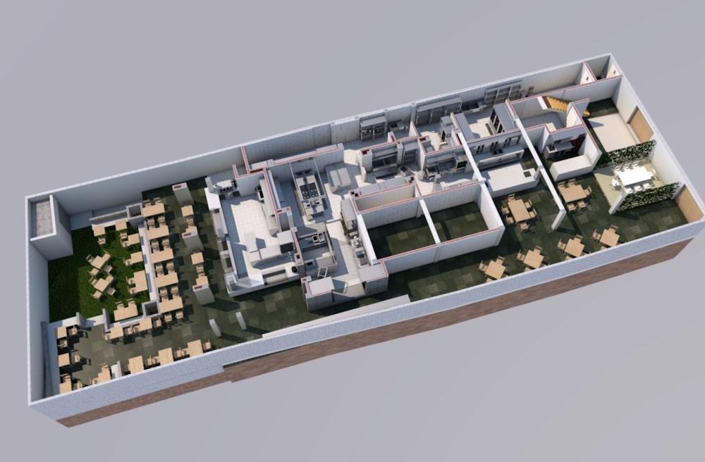 Diseño de Cocina de Restaurant - 3D Render