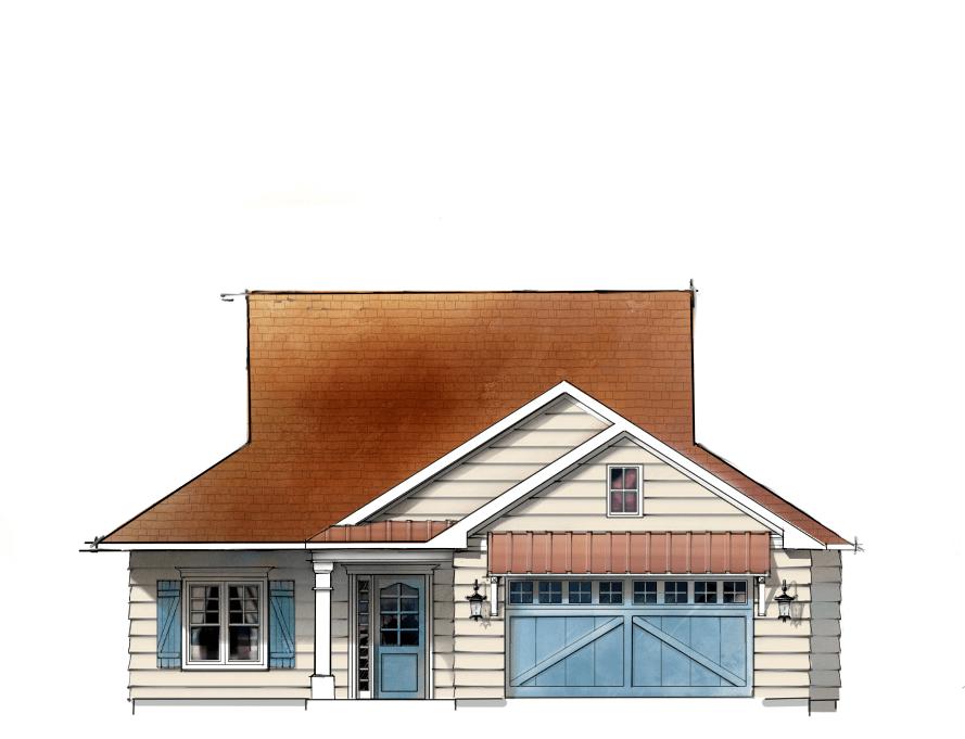 Farmhouse Digital Sketch Illustration