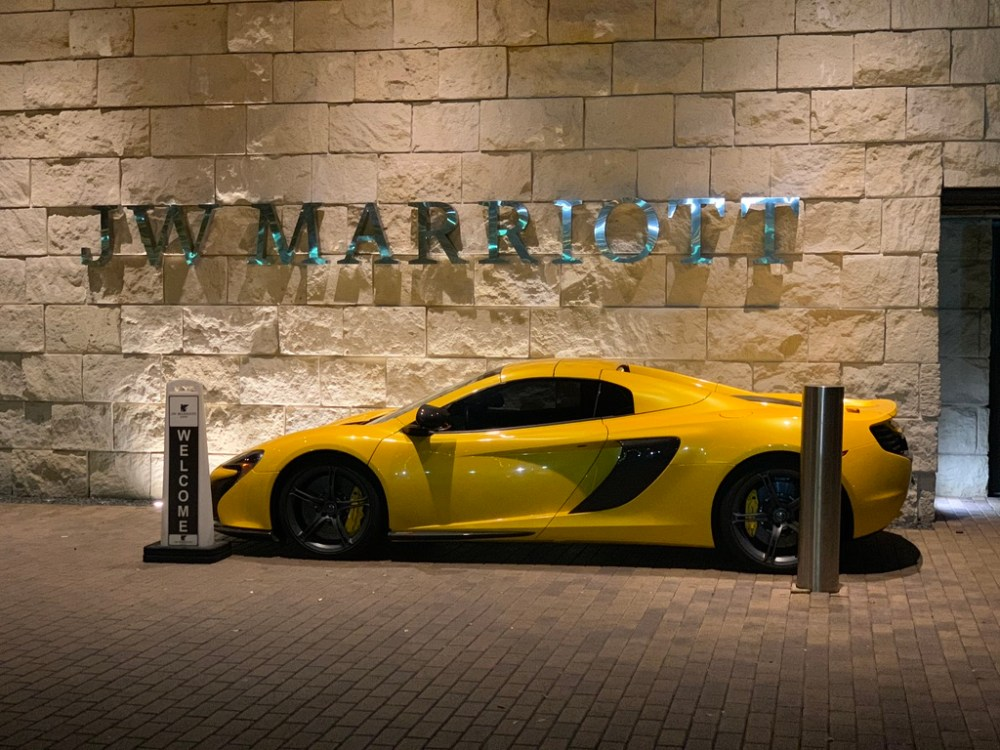 Yellow sport car - Night Arrival to Austin -