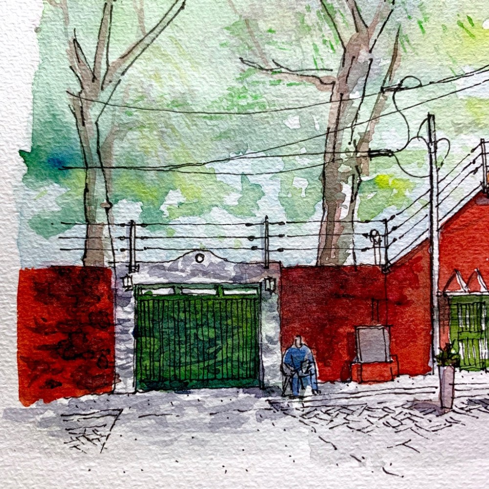 Watercolor Sketch, Red Wall green door under tree
