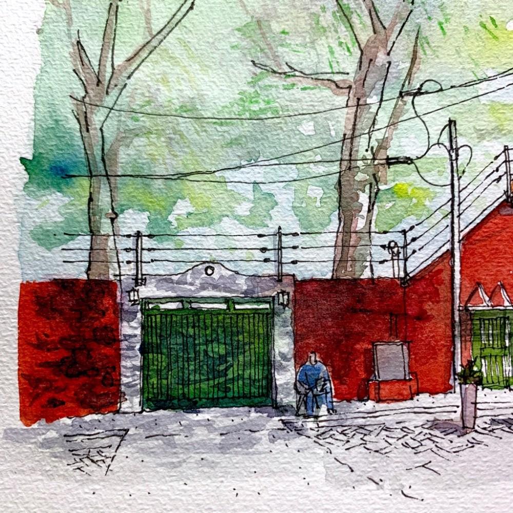 Watercolor Sketch, Red Wall green door under tree