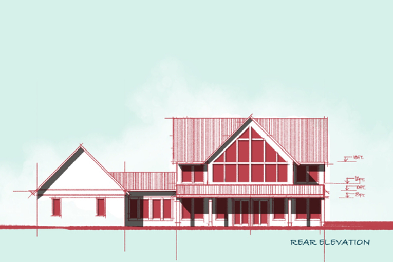 A-frame Lake House Elevation