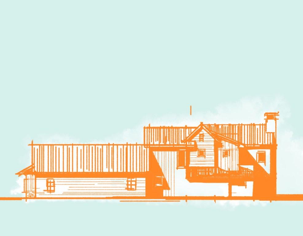 Lakehouse Elevation - Architectonic Sketch