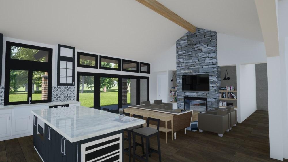 Contemporary Prairie House Interior render
