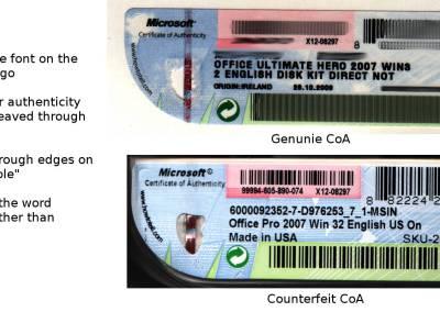 Compare a fake and genuine CoA