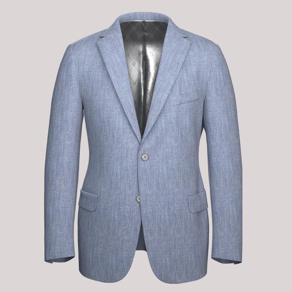 A sample tailored jacket renderedi n 3D.