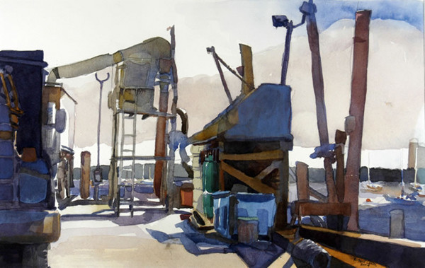 """""""Rockland Fishing Pier"""", by Robert Leedy, 2004, watercolor on Arches Cold Press paper, 12.75 x 20 in., Collection of theArtist"""