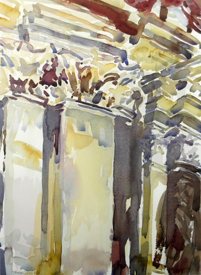 """Venetian Interior"", by Robert Leedy, 2003, watercolor on 140 lb. Arches Hot Press paper, 18.75 x 13.75 in., Collection of the Artist"