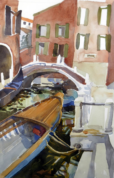 """Rio Pietre - Venice"", by Robert Leedy, 2003, watecolor on paper, 17.375 x 11.375 in., Collection of the Artist"