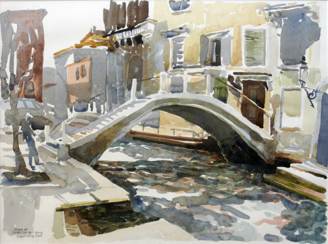 """""""Bridge at Campo San Vio"""", by Robert Leedy, 2003, watercolor on paper, Collection of Mr. & Mrs. Barnwell R. Daley, Jacksonville,Florida"""