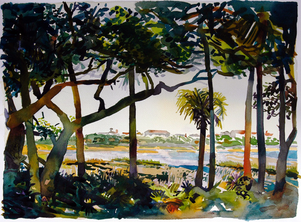 "'""Guana River II: The Outpost Painting"", by Robert Leedy, 2007, watercolor on Arches 140 lb. cold press paper, 18 x 24 in., Collection of the Artist"