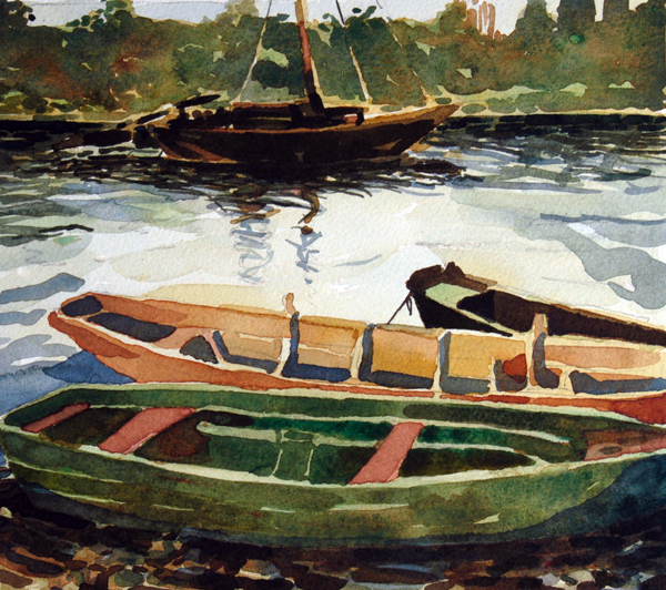 """Loire Working Boats"", by Robert Leedy, 2003, watercolor on paper, Collection of Mary Loftus, Paris, France"