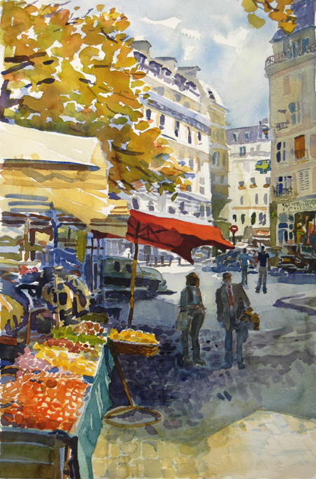 """""""rue Mouffetard"""", by Robert Leedy, 2003, watercolor on paper, Collection of Mr. & Mrs. David Epstein,Jacksonville,Florida"""