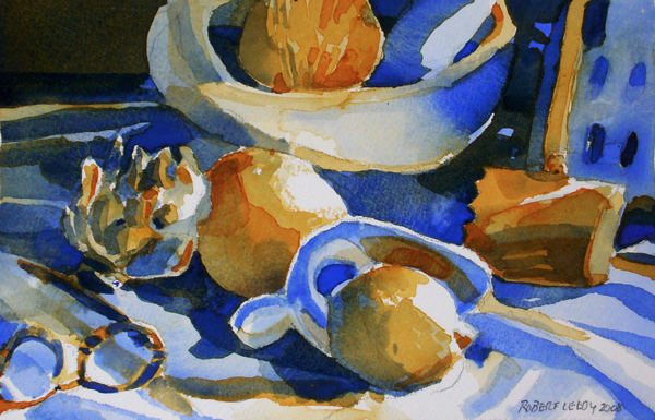 """""""Artichoke, fruit, tastevin, glasses & mallet in two colors"""", by Robert Leedy, 2008, watercolor on Arches 140 lb Cold Press paper, Collection of the artist"""