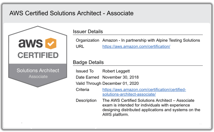 AWS certified solutions architect associate certificate