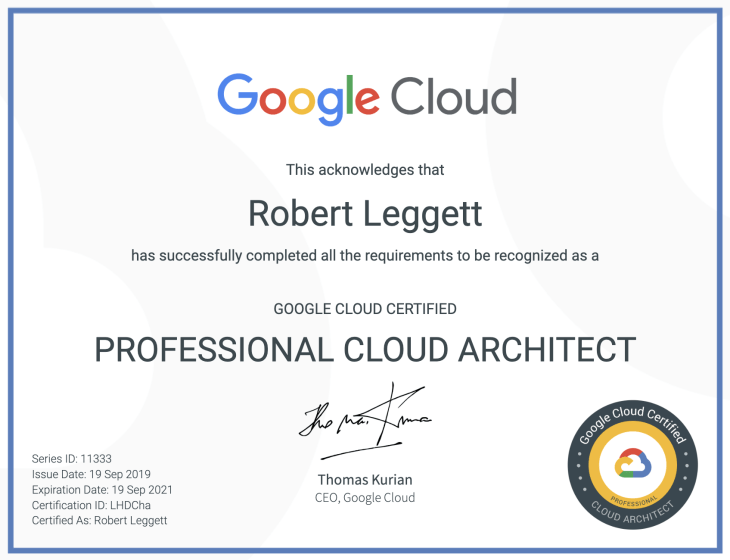 Professional Cloud Architect Certificate