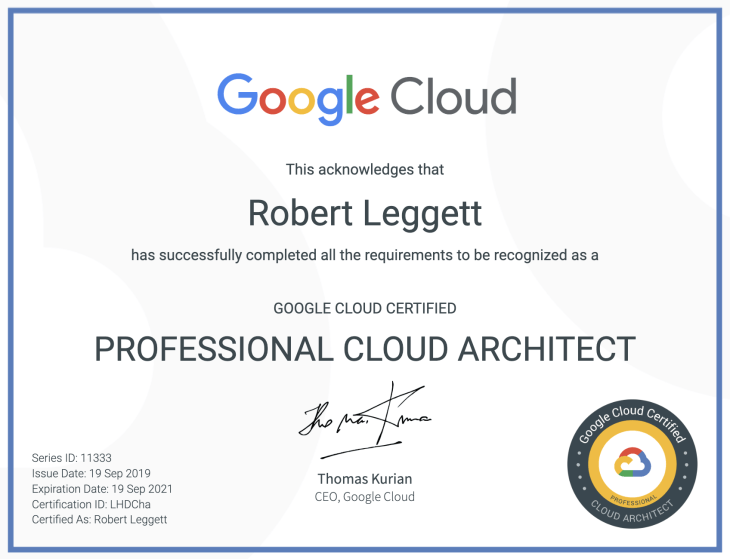Professional Cloud Architect Certificate