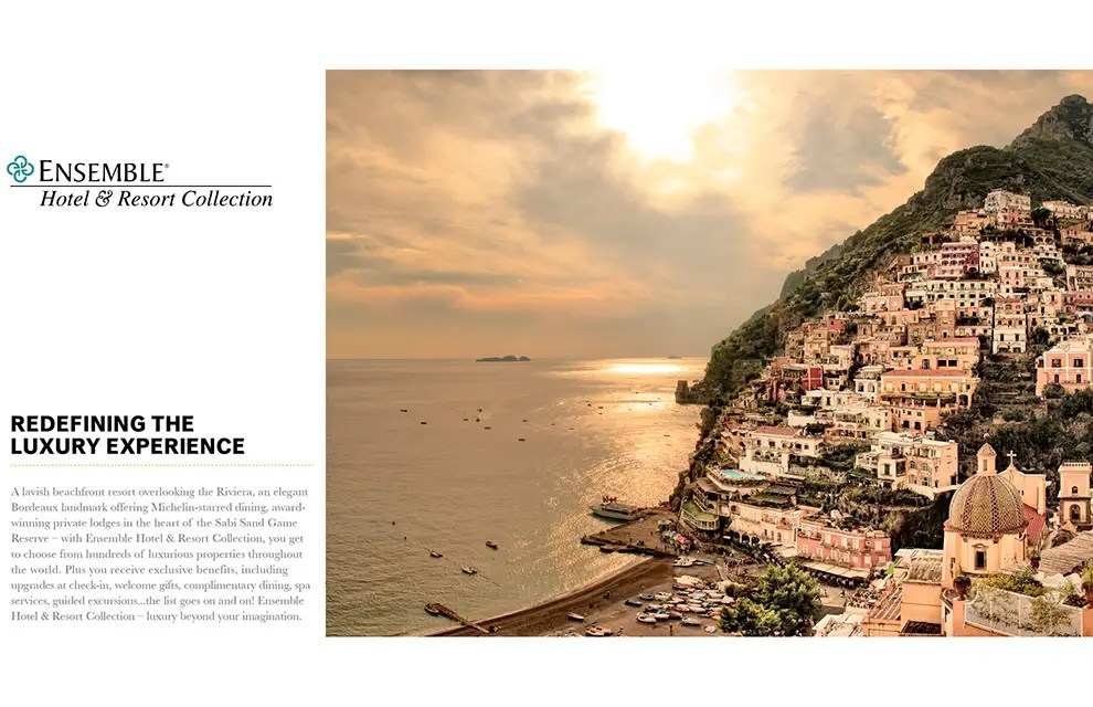 Ensemble Hotel & Resort The-LuxeCollections brochure photograph from La Sponda Restaurant, Hotel Le Sirenuse of Positano