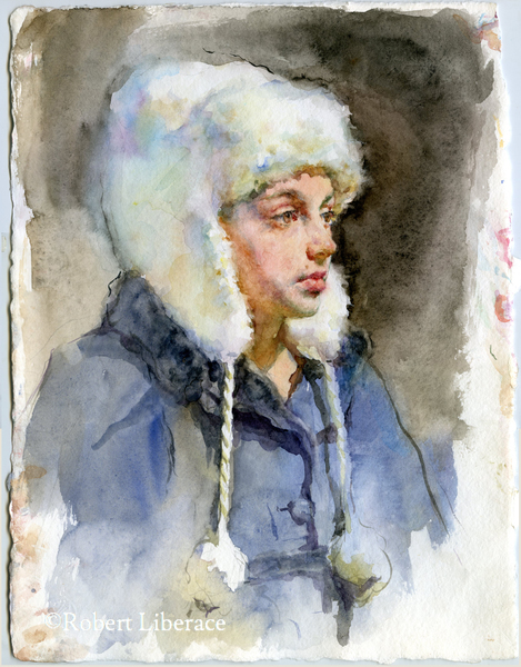 Robert Liberace, Ava in hat, Watercolor