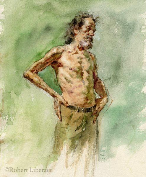 Robert Libeace, Study for John, watercolor on paper