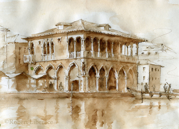Robert-Liberace watercolor Venice, Grand Canal, pen ink