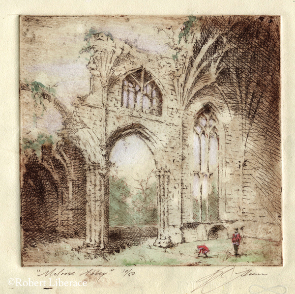 Robert-Liberace,-etching-with-chalk,-Melrose-Abbey