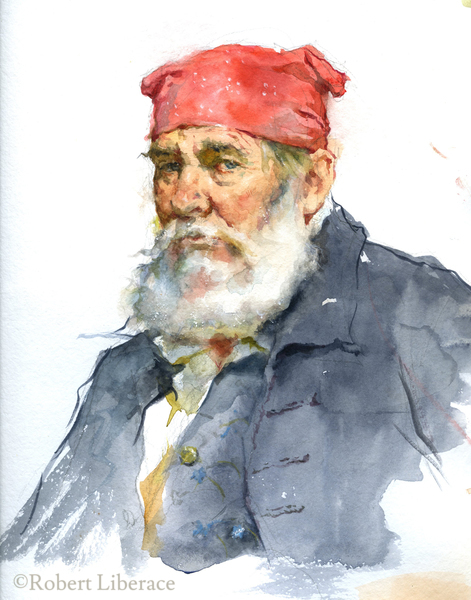 Robert Libeace, watercolor on paper, Sam-demo