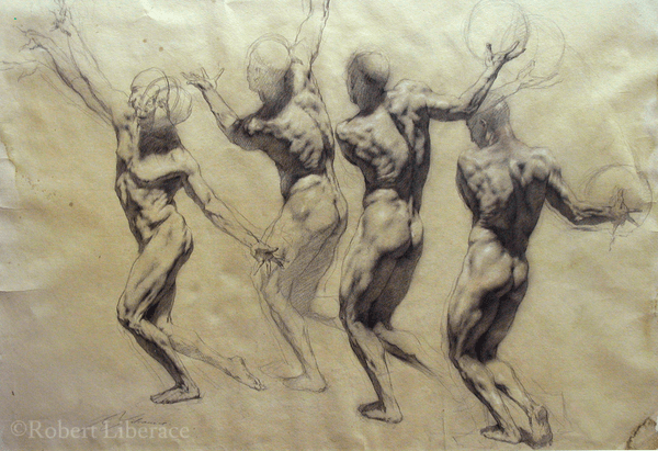 Robert Liberace Figure Throwing Ball, chalk on paper 2005, 24x36