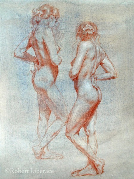 Robert Liberace Two Graces, chalk on paper, 2007, 11x21