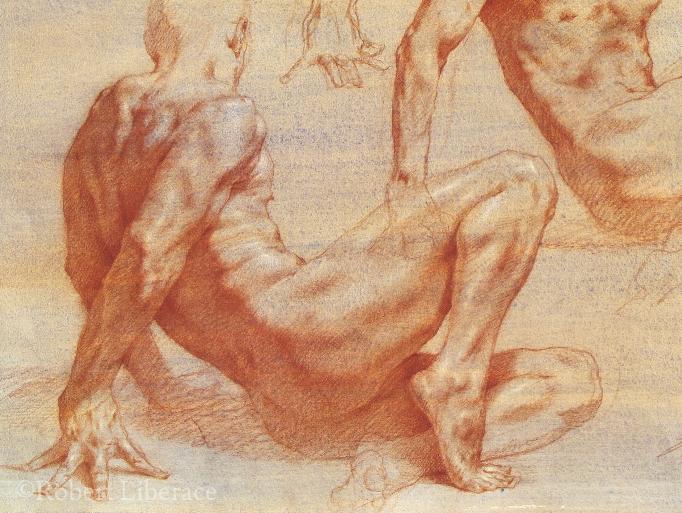 Robert Liberace reclining red chalk