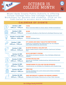 October is College Month - 2021 Calendar of Events