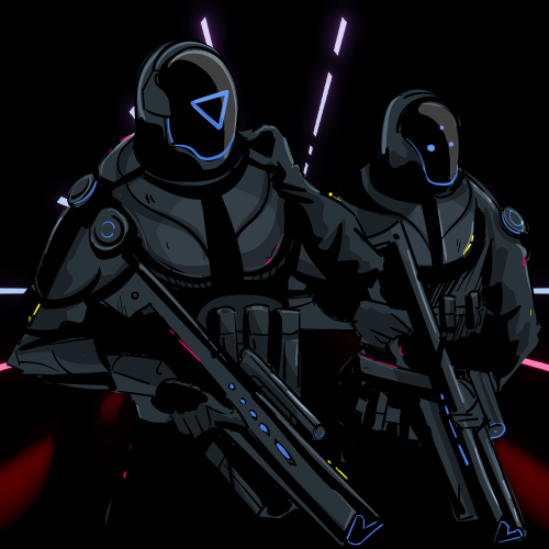 Illustration of two sci-fi warriors in body armor