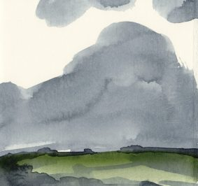 'Rain I' watercolour, 17.5 x 19 cm