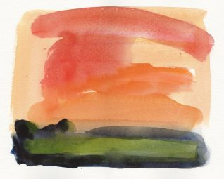 Landscape No. 8 watercolour, 20 x 22 cm