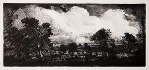 'Big Clouds, Old Landscape' monotype, 18 x 40 cm
