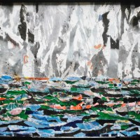THE APOLOGIA OF REVOLT AND RESTLESSNESS (SEA & SKY): 350 PAPER PIECES RECYCLED FROM DECOMPOSED PUBLICITY POSTERS