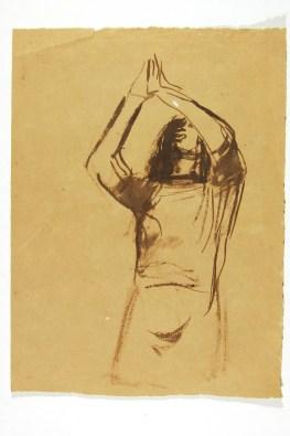 Elio Morri (1913-1992) Maria,Schizzo a inchiostro 1941c. per la Resurrezione, cappella Contin. Roma, cimitero del Verano