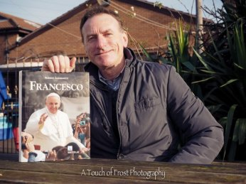 "Roberto Alborghetti and ""Francesco"" book - Photo by Christopher Frost"